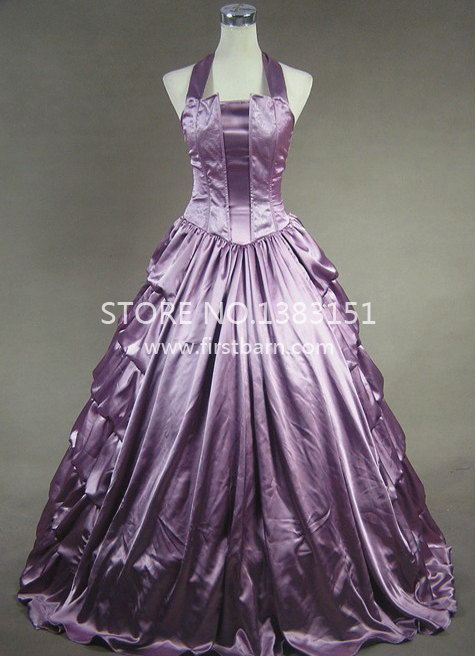 Southern belle civil war purple sexy corset dress prom for Sexy wedding dress costume