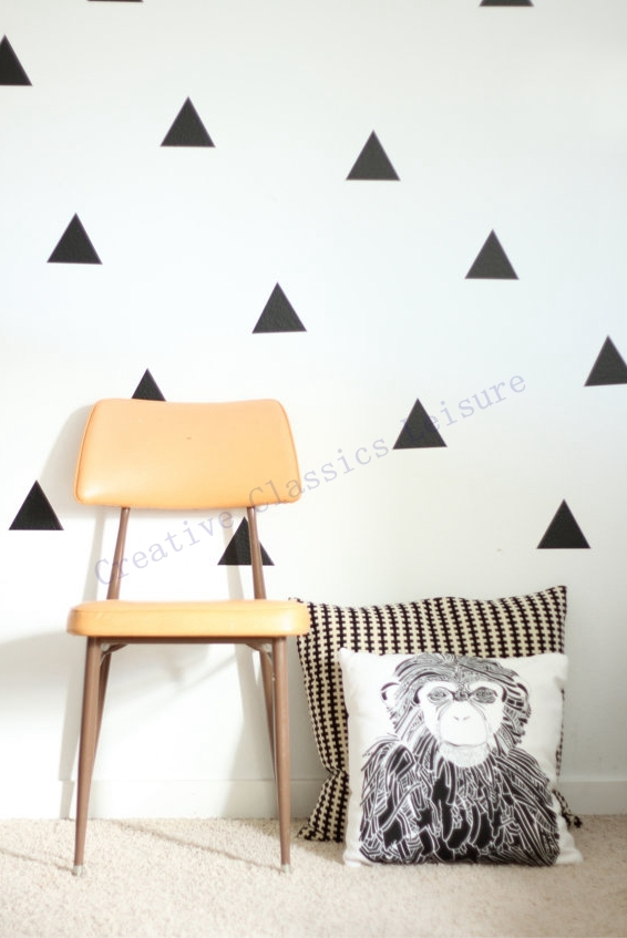 Free shipping 45 triangles modern wall art decor home for Quality home decor