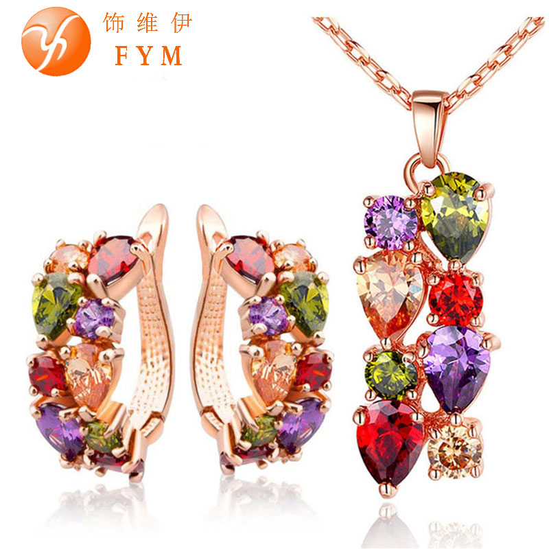 Gioconda Rose Gold Plated Jewelry Sets with Multicolor AAA Zircon Stone Women Engagement Wedding Jewelry Set(China (Mainland))