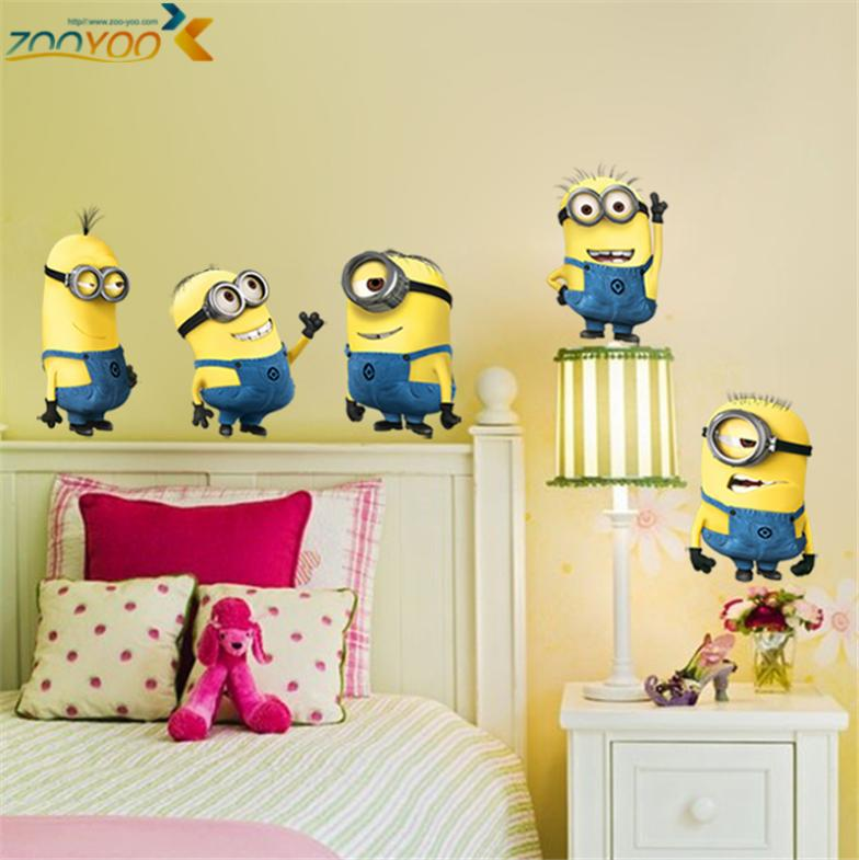 despicable me 2 minions wall stickers for kids rooms zooyoo1404 decorative wall art removable pvc cartoon wall decal(China (Mainland))