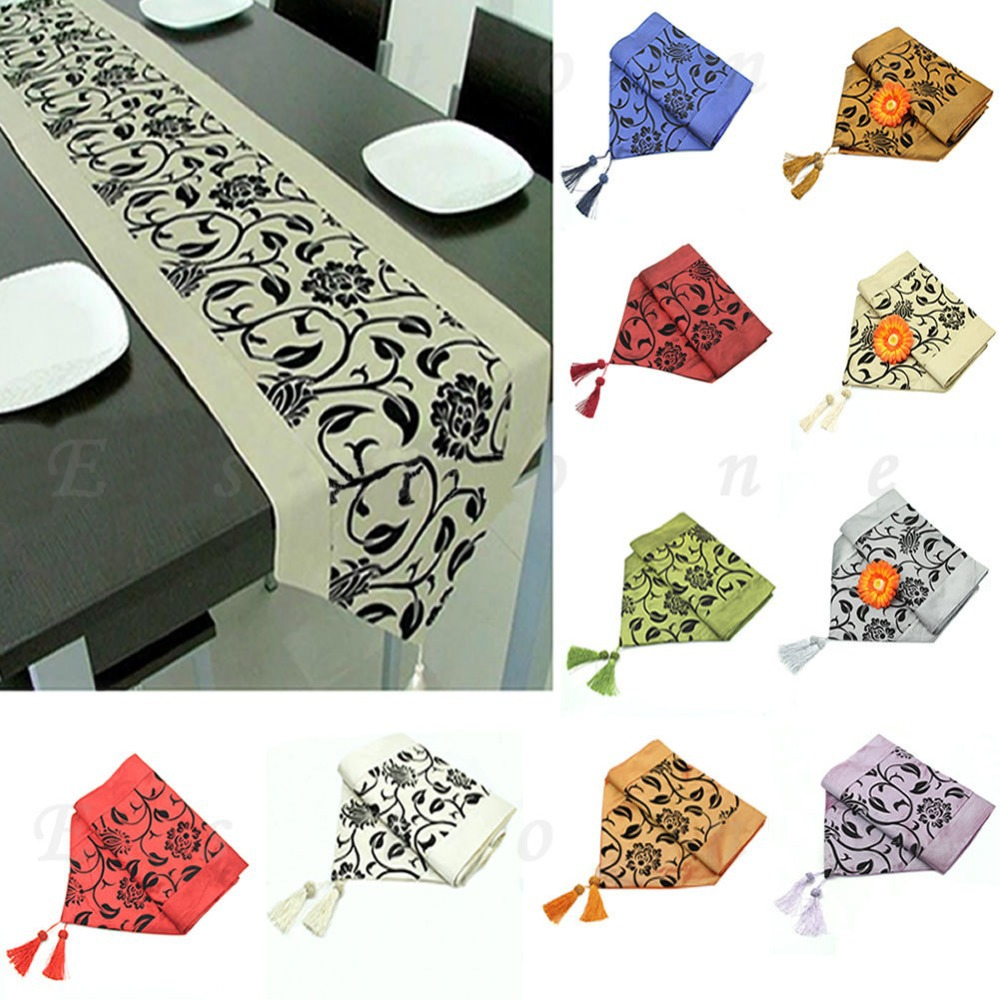 "W110 1PC  78""X12"" Table Runner Cloth Wedding Decor Raised Flower Blossom Flocked Damask(China (Mainland))"