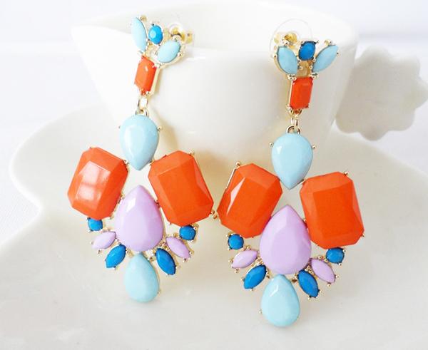 Hot sale jewelry fashion stone big stud earrings women accessories