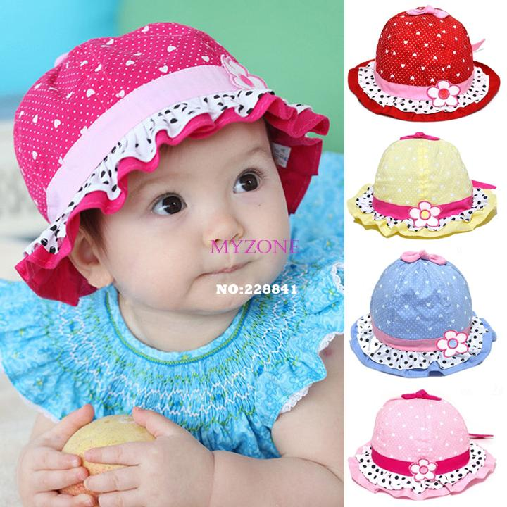 Brand New 2014 Cute Baby Girls Sun Polka Dot hearts Cotton Summer Hat Cap 3-24 Months 30