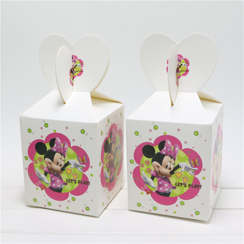 Minnie Mouse Supplies Paper Bags Baby Shower Souvenirs Gift Box Favor Candy Birthday Party Kids Decorations Event & Party 6PCS(China (Mainland))