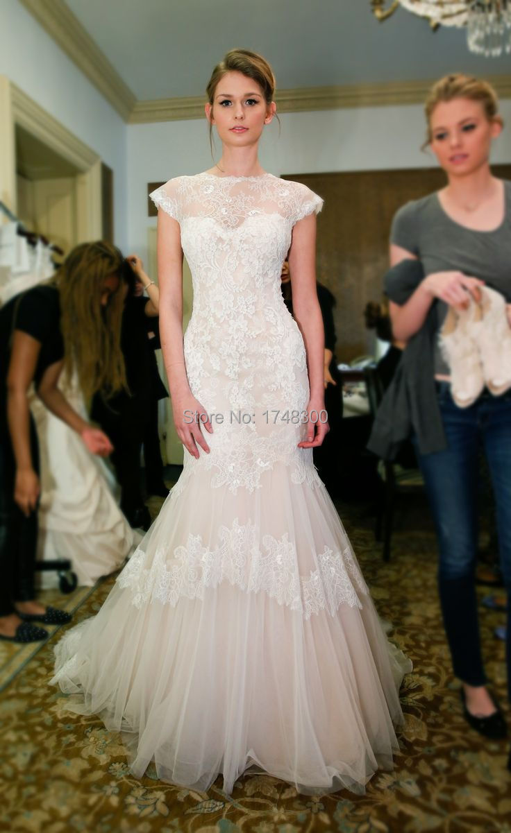 Lace Wedding Dress With Cap Sleeves Style D1919 : Fashion style cap sleeve mermaid lace wedding dress neck see through