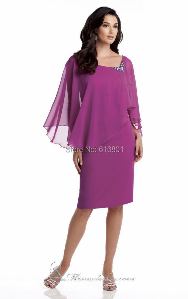 2014 Hot Chiffon Cap Sleeves Short Knee Length Mother Bride Dresses - Hilly Sun Wedding & Evening Company store