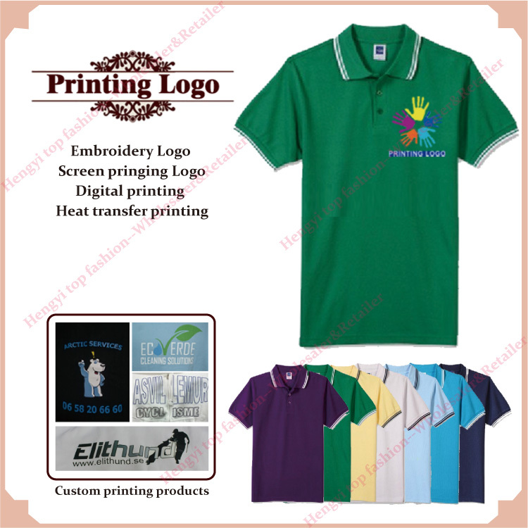 Print embroidery custom logo shirts screen printed digital for Cheap screen printed shirts
