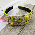 2016 New design euramerican baroque fashion accessories gem leaves alloy flowers female hairband jewelry ornament accessories