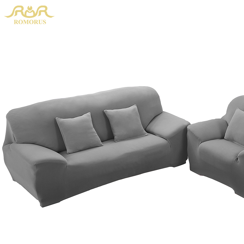 ROMORUS Solid Color Tight All-inclusive Sofa Covers Gray Black Slipcover Stretch Fabric Elastic Single/Two/Three/Four-seat Sofa(China (Mainland))