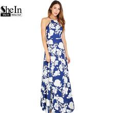 SheIn Womens Summer Maxi Dresses New Arrival Ladies Boho Dress Sleeveless Blue Halter Neck Floral Print Vintage A Line Dress(China (Mainland))