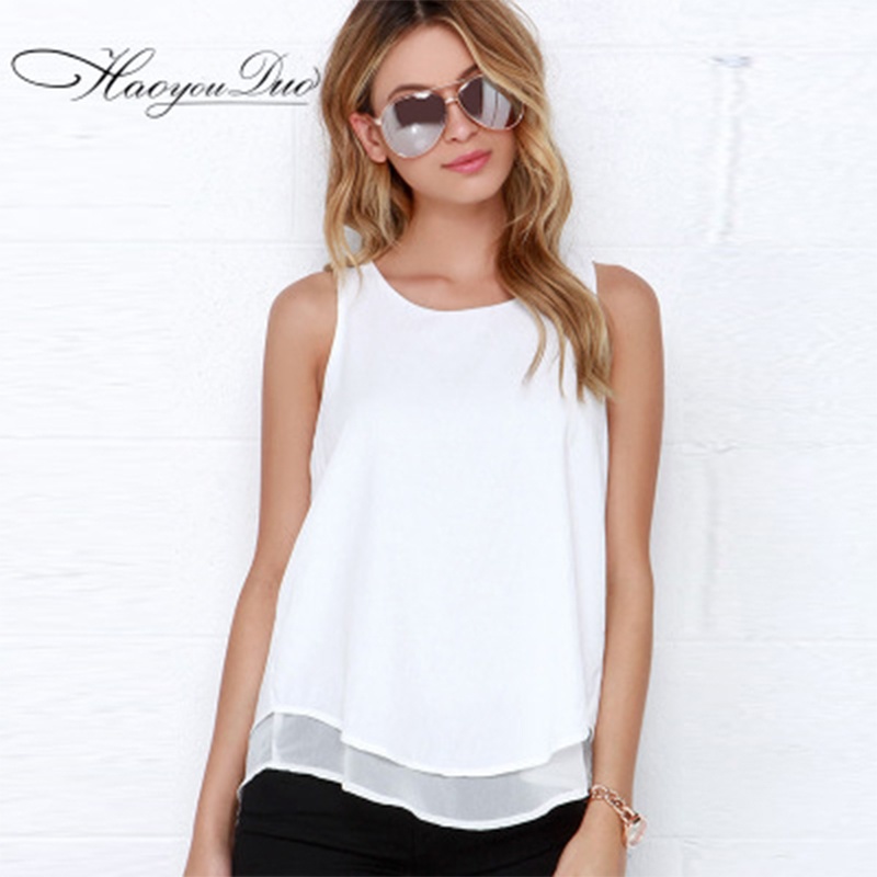 2017 New Arrival sexy Chiffon Ruffle Blouses Summer Style Women's Shirts Casual White O-Neck Loose Blouse(China (Mainland))