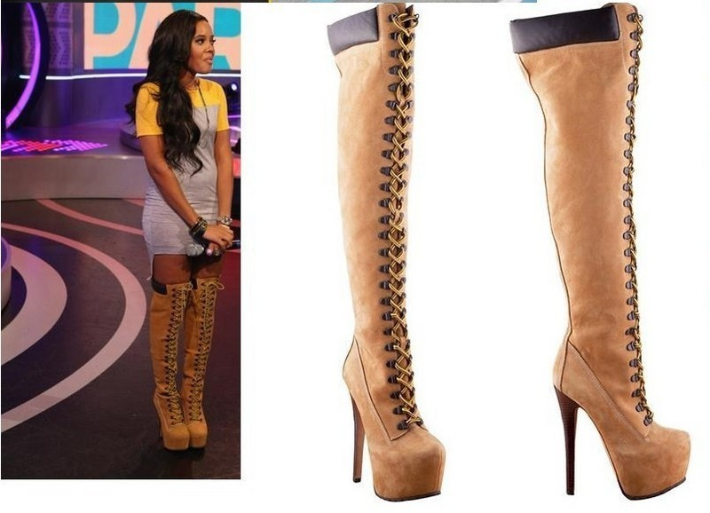Popular Tan Knee High Lace up Boots-Buy Cheap Tan Knee High Lace ...