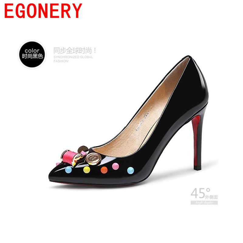 2016 new arrival shoes high quality thin heels patent genuine leather fashion woman pumps spring women pumps sexy lady pumps<br><br>Aliexpress