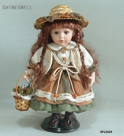 FREE SHIPPING 12 INCH/ 30CM PORCELAIN DOLL WITH MANUFACTURER PRICE AND COUNTRY STYLE FOR DIRECTION(China (Mainland))