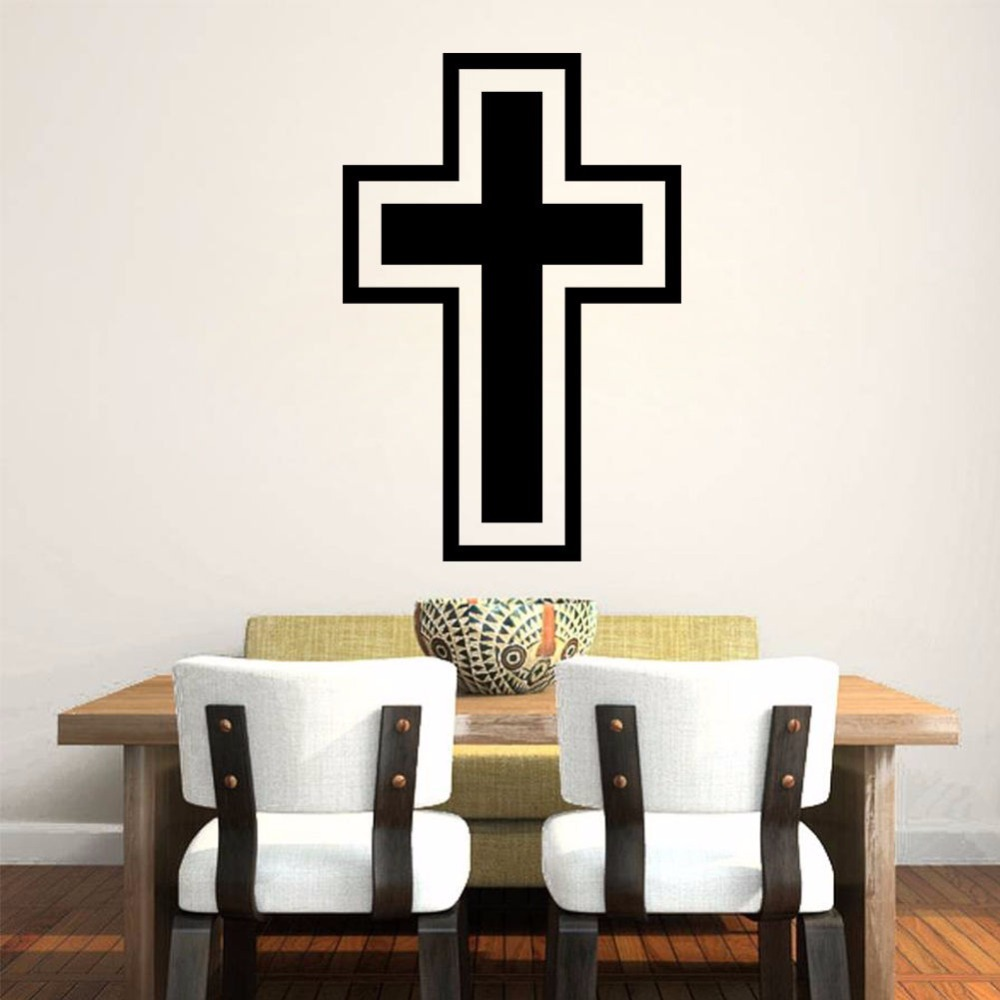 Black christian cross art home decor vinyl wall sticker for Wall decoration items