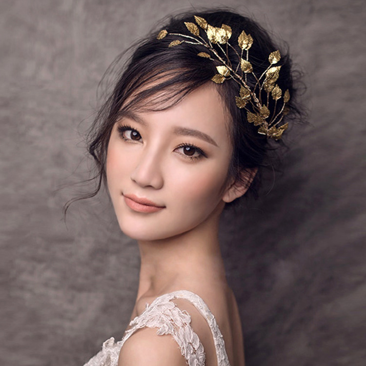 Gold Leaves Bridal Wedding Hair Accessories Bijoux De Tete Cheveux Noiva Banquet Frontlet Flower Indian Hair Jewelry Tiara Z0937(China (Mainland))