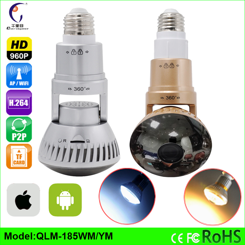NEW Hidden Bulb HD 960P 1.3MP P2P WiFi IP Network Mirror Camera Night Vision Motion Dectiong alarm ONVIF CCTV security cameras(China (Mainland))