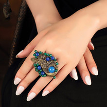 Free shipping bohemia accessories national trend ring female blue agate female big peacock decoration jewelry  rings for women(China (Mainland))