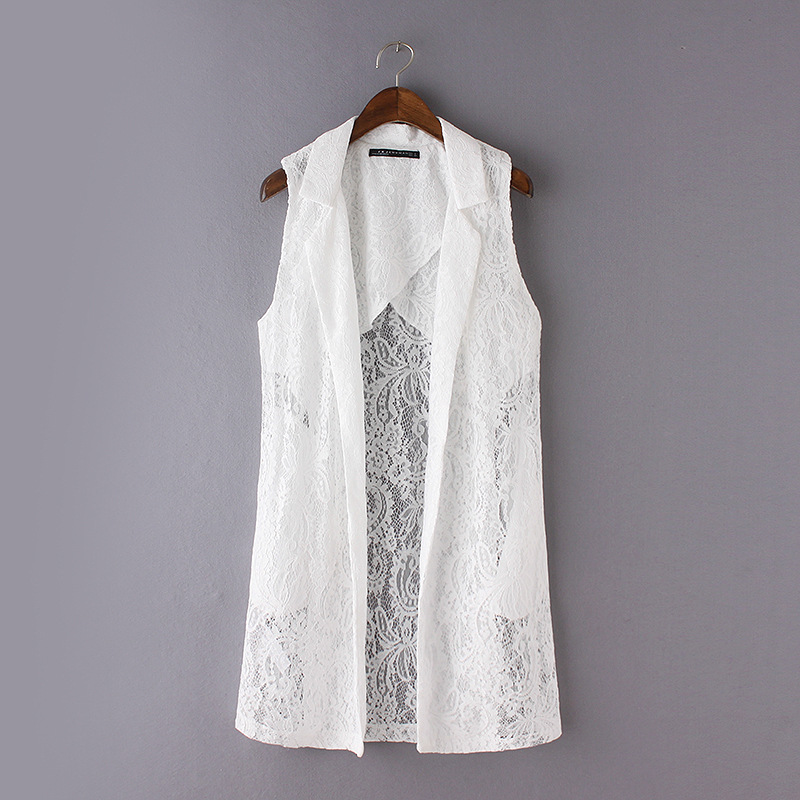 Summer Vest 2016 New Solid color lapel perspective lace vest Long Women Coat Sexy women's vests XY2089(China (Mainland))