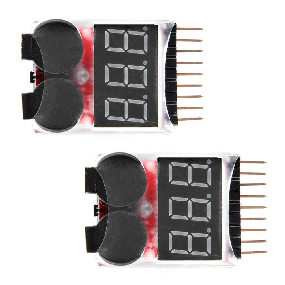 2pcs RC Helicopter Multicopter Spare parts Lipo LiFe LiMn Li-ion Battery Monitor Alarm Low Voltage Buzzer Alarm Indicator 1S-8S(China (Mainland))