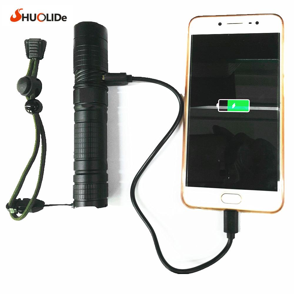 2017 New USB Rechargeable CREE xmlT6 LED torch mini Flashlight power bank flashlight LED glare Aluminum flashlight  led lamp
