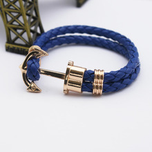 Fashion Jewelry PU Leather Bracelet Men Anchor Woven Bracelets&Bangles Multilayer Charming Rope Pulseiras Femininas Hand Chain(China (Mainland))