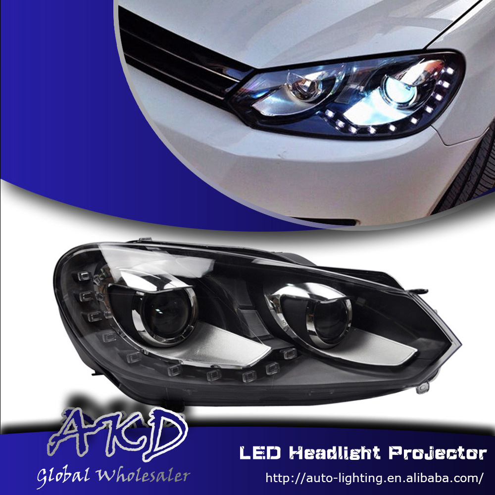 One-Stop Shopping Styling for VW Golf6 LED Headlight Golf 6 Headlights 12-LED DRL Lens Double Beam H7 HID Xenon Car Accessories(China (Mainland))