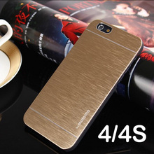 4 4s motomo Deluxe Aluminum Metal Brush Case For iphone 4 4S Mobile Phone Back Cover Motomo For Iphone4 back Cover
