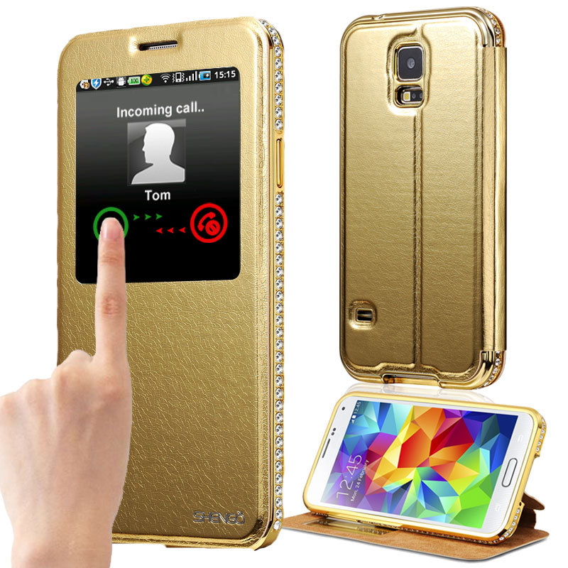 S5 Diamond Aluminum Leather Case For Samsung Galaxy S5 i9600 Smart View Window Luxury Metal Frame Phone Bag Cover Woman(China (Mainland))