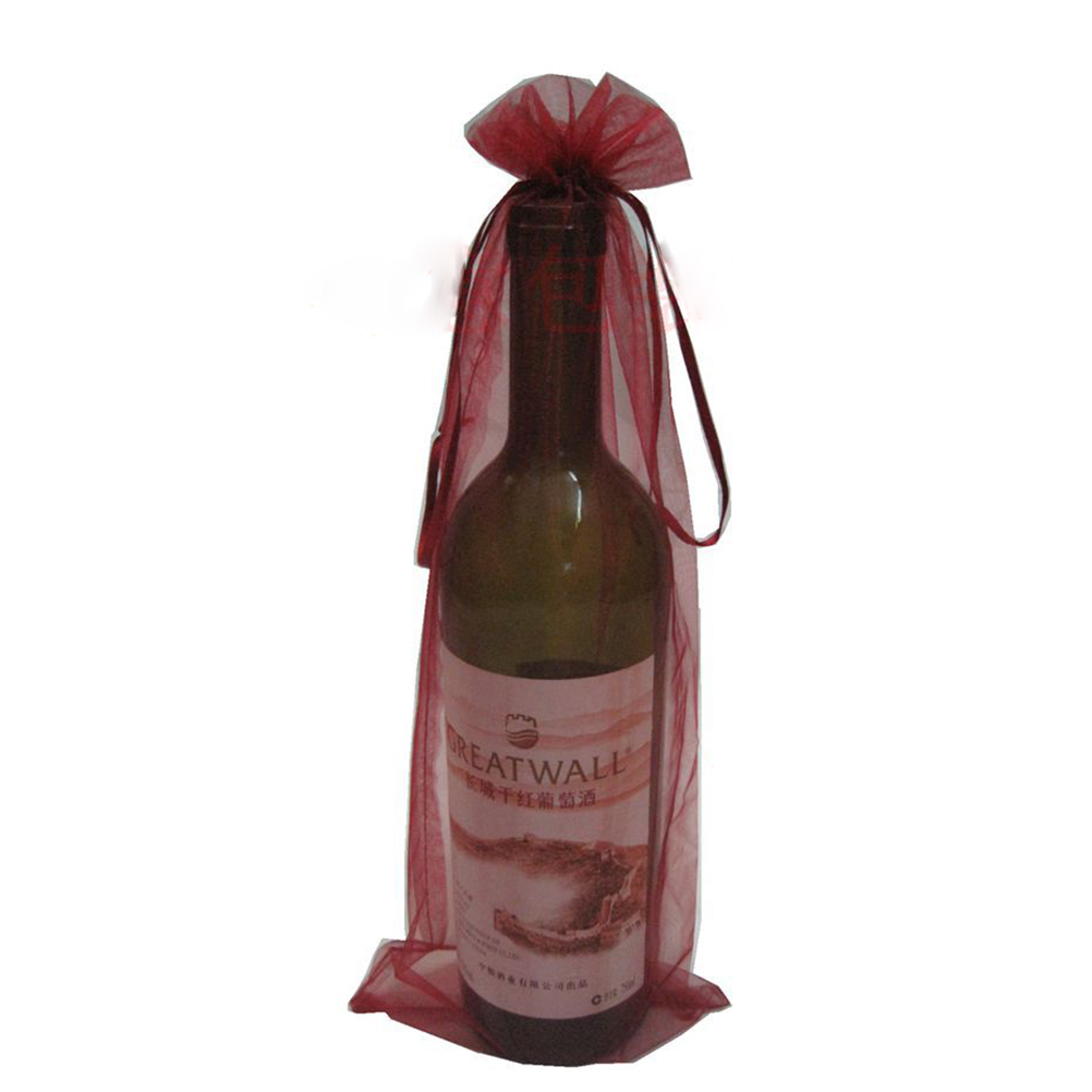 10pcs Sheer Organza Wine Bottle Cover Wrap Gift Bags (Wine Red)(China (Mainland))