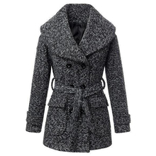 Women's Winter Warm Wool Slim Fit Belt Double-Breasted Casual Long Trench Overcoat Outwear Classic Pea Parka Walker Coat(China (Mainland))