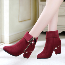 Hot Women Boots High Heels Warm Winter Boots For Women Ankle Boots Red Ladies Botas Femininas