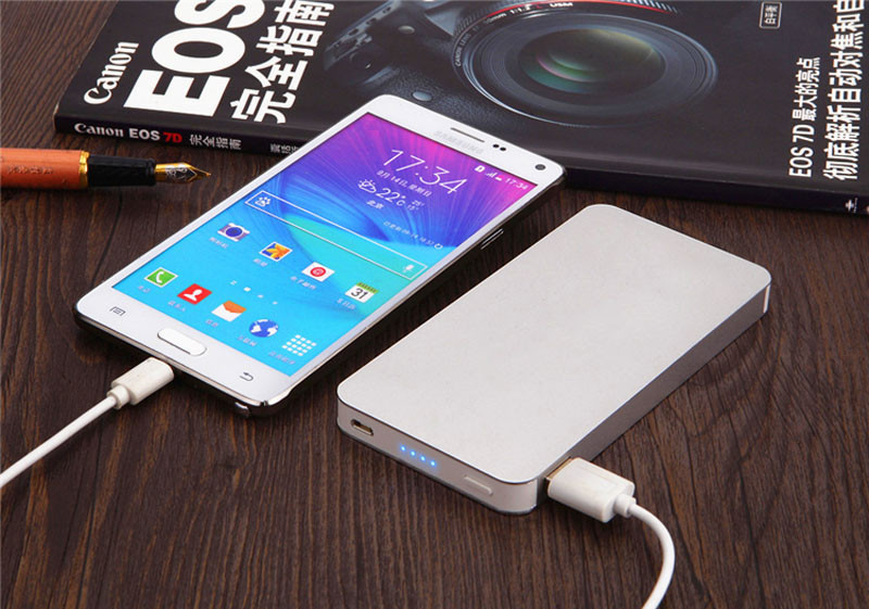 Silver Slim Power Bank 12000mah Portable Charger Mobile Phone Backup Powers External Battery Charger For iPhone xiaomi