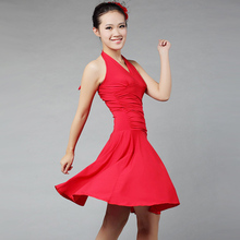 2014 new ladies latin dresses rose/lake blue/red fringe dance skirt M/L/XL/XXL dancing dress for women samba dance free ship