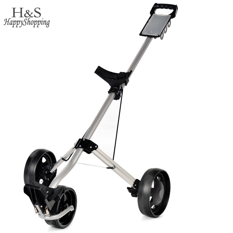 Free Shipping Aluminium alloy Golf Pull cart Golf Trolley Golf Push pull cart 3wheels Pull cart Foldable Trolley with Brake 22
