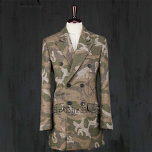 Autumn and winter Men's Camouflage overcoat trend slim trench male thickening Camouflage outerwear singer costumes clothing(China (Mainland))