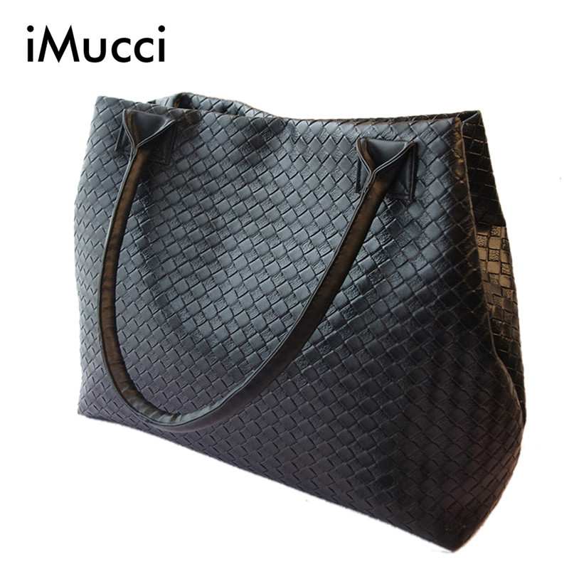 Weave Handbag Hot Selling Women PU Leather Cheap Handbag Tote Shoulder Bags Large Capacity PU Weave Bags Fashion Design(China (Mainland))