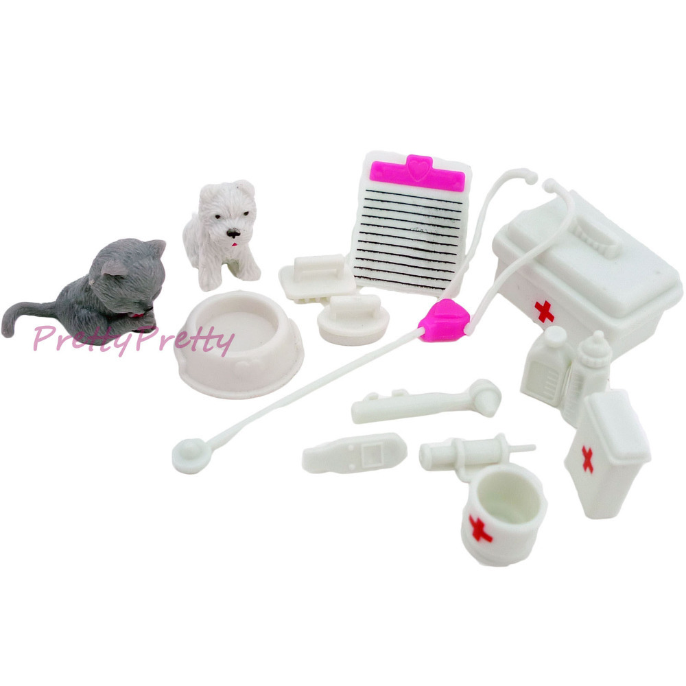Free Shipping One Set Doll Accessories Toy medical kit Doll Pet Toys For barbie doll Baby Toys Best Christmas gift(China (Mainland))