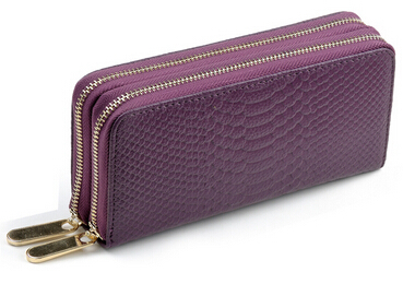 Promotion long snake skin printed purple women money clips real leather ladies wallets purses zipper card bag with strap 11color(China (Mainland))