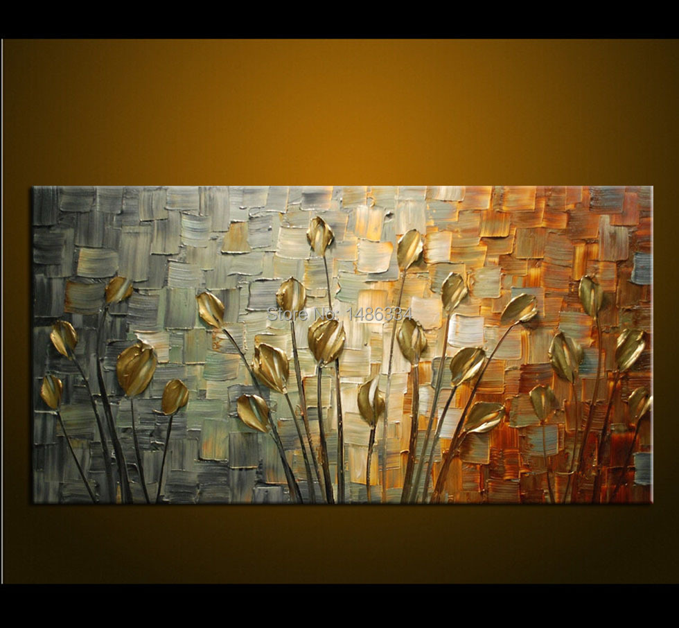 Hand made oil painting palette knife thick paint golden for Wall art paintings for living room