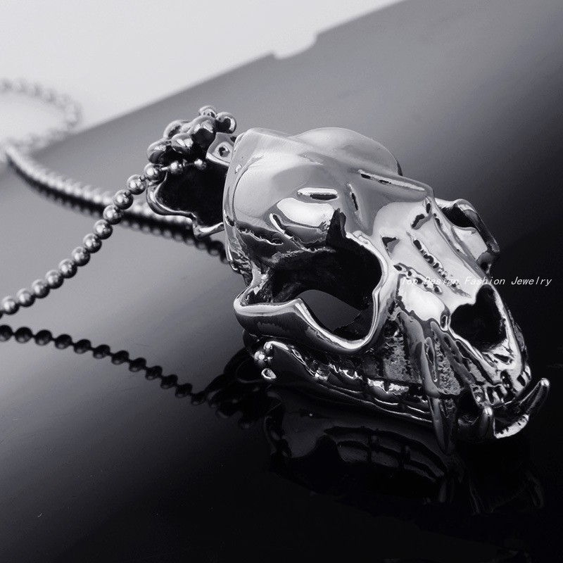 Fashion necklaces Masculine Big Dinosaur Skull Pendant 316L Stainless Steel necklaces & pendants Free Ball Chain men&Boy jewelry(China (Mainland))