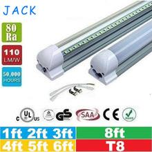 100pcs 1ft 2ft 3ft 4ft 5ft 6ft 8ft T8 Led Tubes Light 18W 22W 28W 36W 45W Integrated Led Fluorescent Tube Lamp AC 110-240V(China (Mainland))