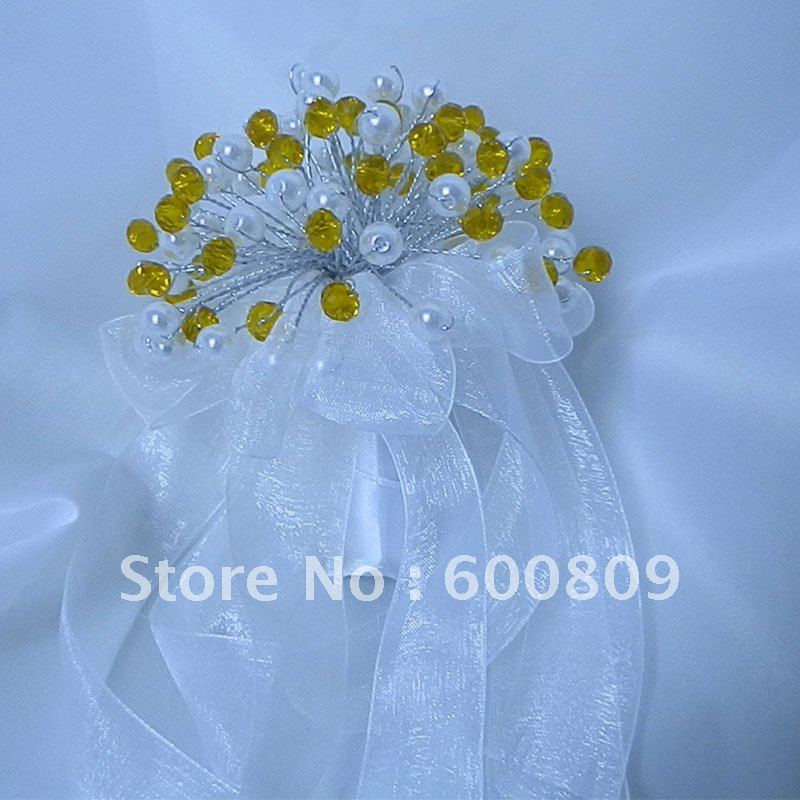 New listed white+Yellow Small crystal flower girl's bouquets,wedding handmade gift crafts(China (Mainland))