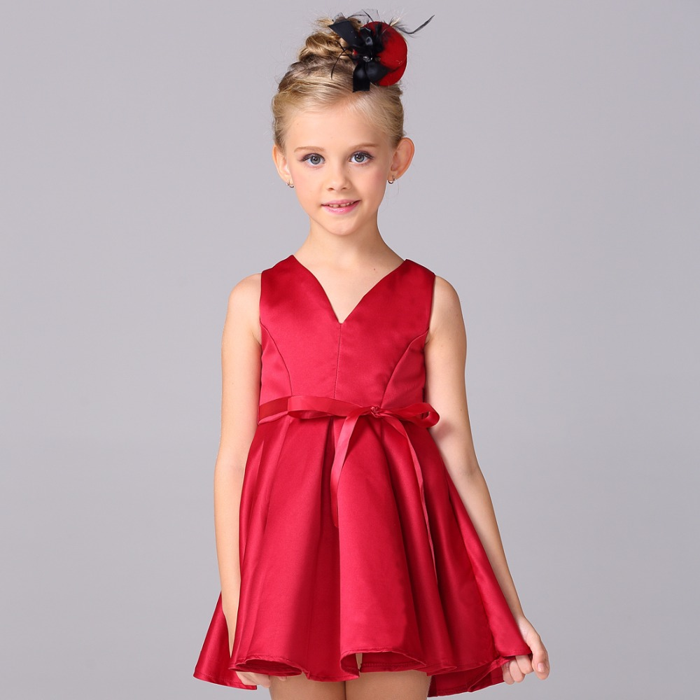 Retail New Style All Red Girls Dress For Wedding Party Kid Girl Solid Dress A-Line V-Neck Sexy Children Images L-99(China (Mainland))