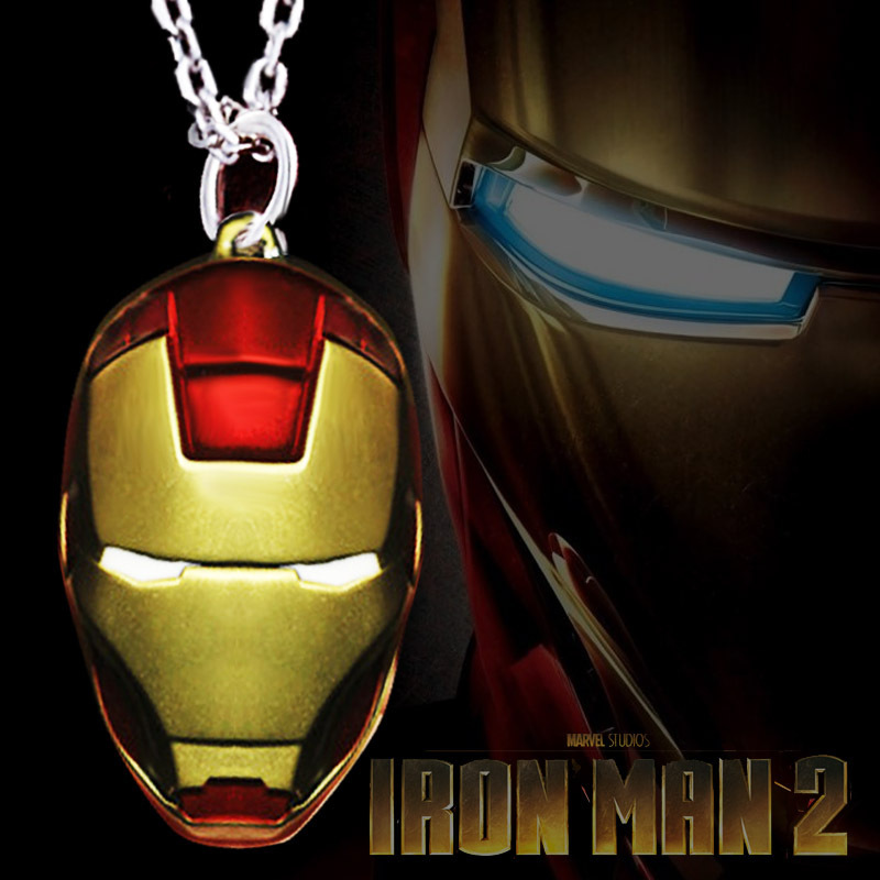 Hotsale Iron Man mask necklace gold and red delicate design alloy pendant jewelry movie necklace(China (Mainland))