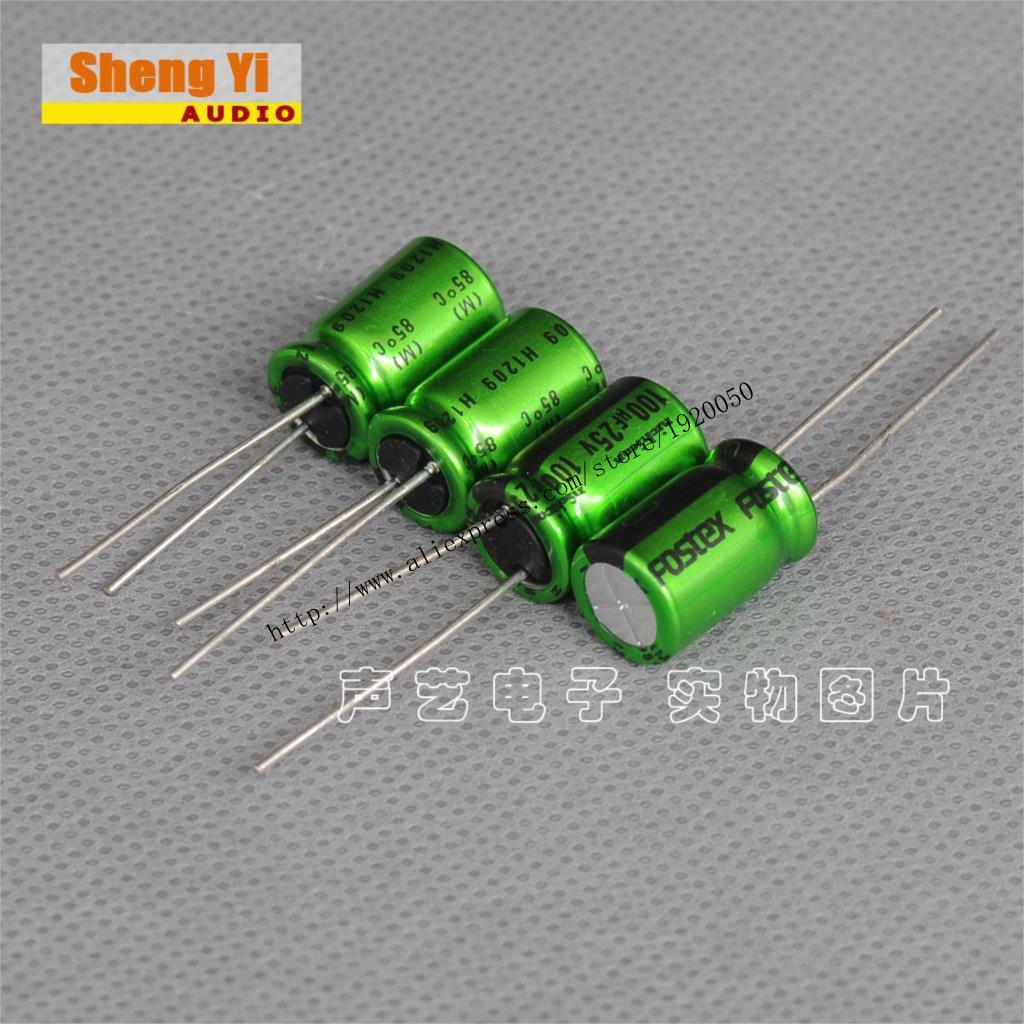 Japan's Nicky Kang green wizard FOSTEX custom 100UF 25V thick copper pin audio capacitor(China (Mainland))