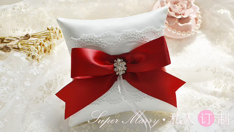 Red wedding ring cushions