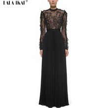 Women Black Sexy Long Sleeve Pleated Dress Ladies Party Club Lace Maxi Dresses Brand Robe Femme Automne Hiver Dress SP QWB0260-4(China (Mainland))