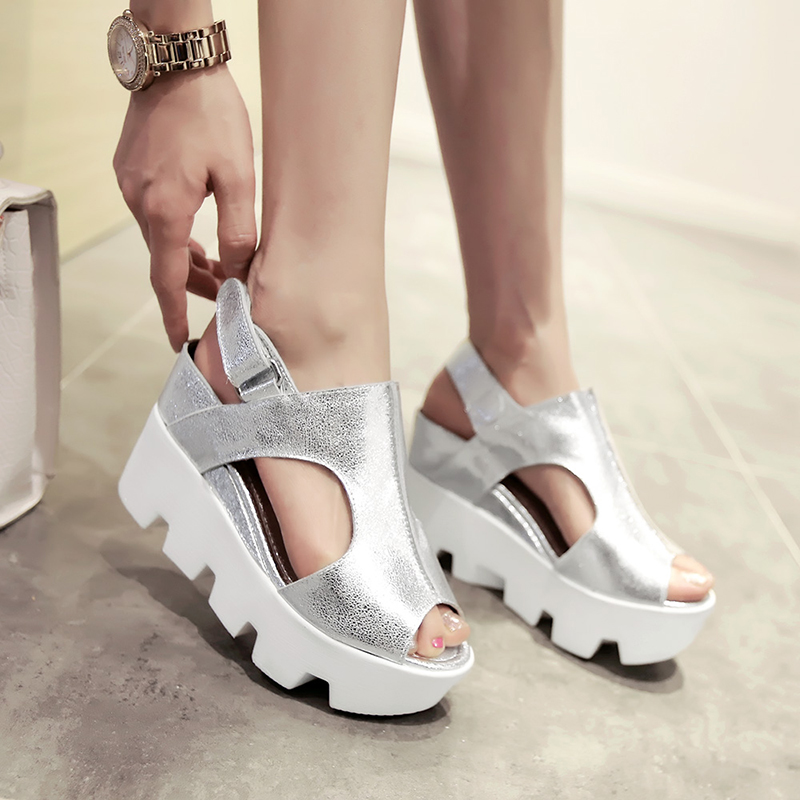 Most Popular Creepers Hot Selling Quality New Appealing Full Grain Leather Wedge Fish Mouth Shoes High Heels Platform Woman Show<br><br>Aliexpress