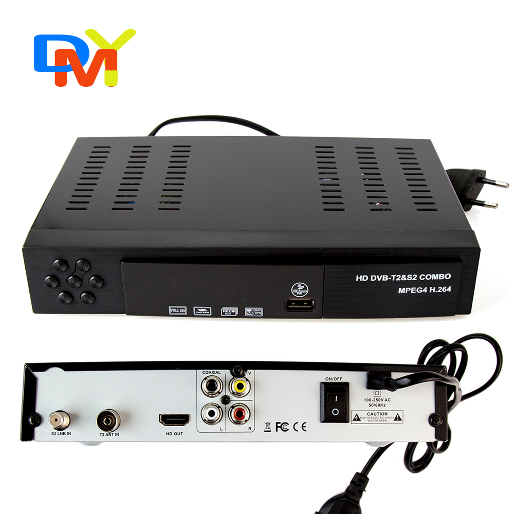 Digital Satellite Receiver Combo dvb t2 + S2 HD 1080P dvb-t2 tv Box H.264 / MPEG-2/4 for Russia Europe smart tv free shipping(China (Mainland))